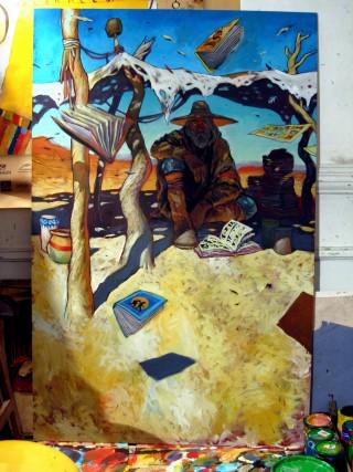 panneaux peinture pour exposition BD.
